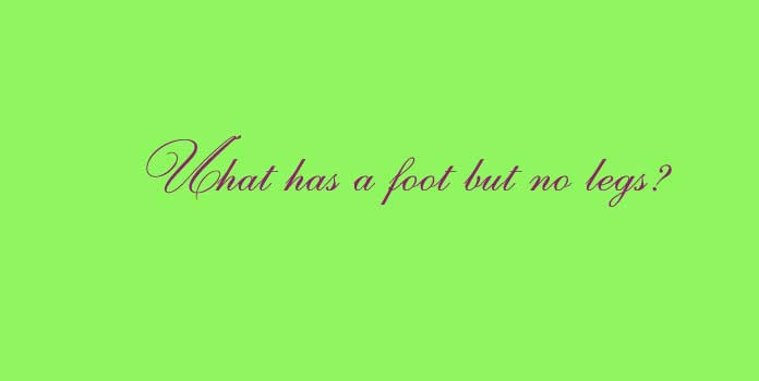What has a foot but no legs